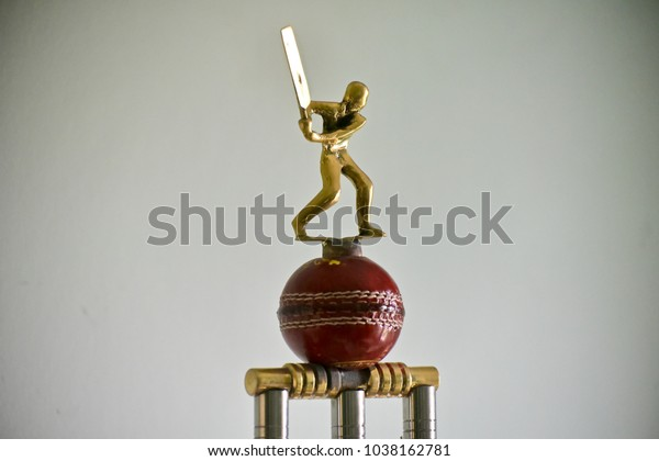 A cricket tournament champions trophy isolated object stock photograph