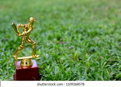 Cricket trophy in glass background