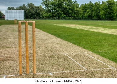 Cricket wicket and sight board shown in summer
