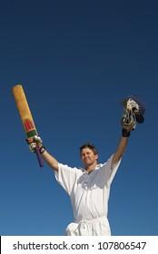 Cricketer celebrates 100  runs