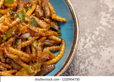 Crickets, mealworms and spring onions (Acheta domestica) in a small bowl