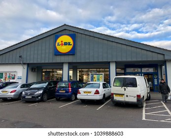 CRICKLEWOOD, LONDON - MARCH 6, 2018: Exterior view of Lidl discount supermarket on the Edgware Road in Cricklewood, North London, England, UK.