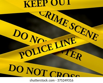 Crime area restricted by several yellow police line tapes