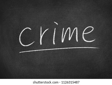 crime concept word on a blackboard background