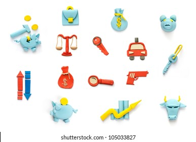 crime and finance plasticine icons