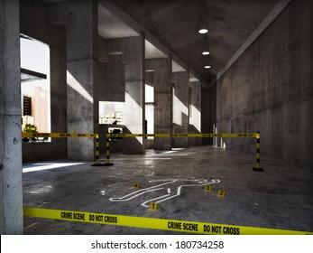 Crime scene in an empty building