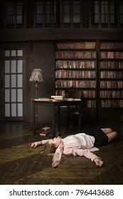 Crime scene (imitation). Strangled student in the classical library room