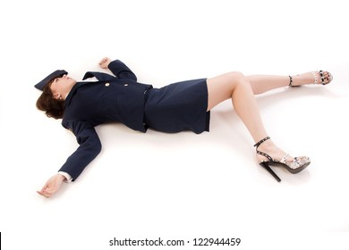 Crime scene imitation. Woman officer lying on a floor