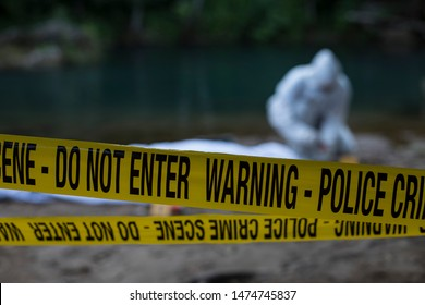 Crime scene investigation - criminologist technician on place of crime