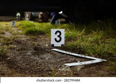 Crime scene investigation - footprint of murder on way