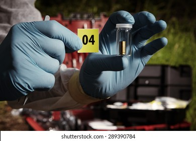 Crime scene investigation - pistol ammunition evidence