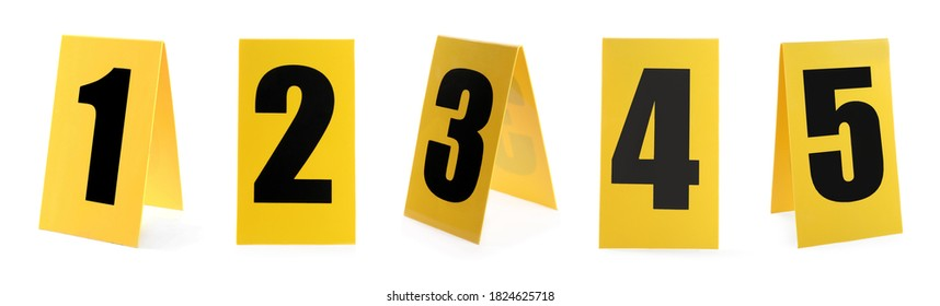 Crime scene investigation. Set of evidence identification markers on white background - Shutterstock ID 1824625718