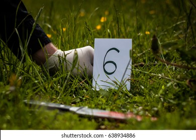 The crime scene, murder, investigation, bloody knife on the grass, an investigation is underway, expert witness with gloves puts labels on the crime scene
