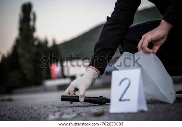Crime Scene Murder Investigation Police Find Stock Photo