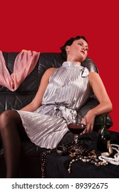 Crime scene in a retro style. Poisoned woman on the sofa