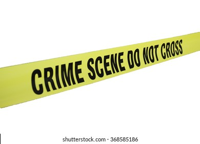 crime scene tape isolated on white background with clipping path