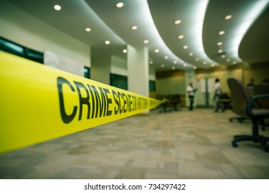 crime scene tape and law enforcement background with copy space