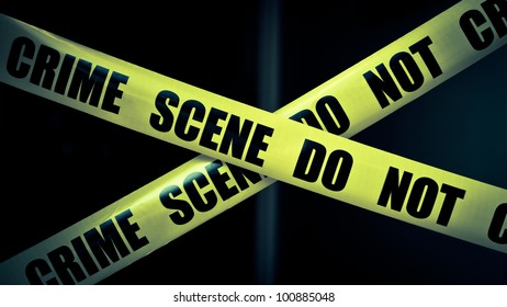 Crime scene tape in residential home