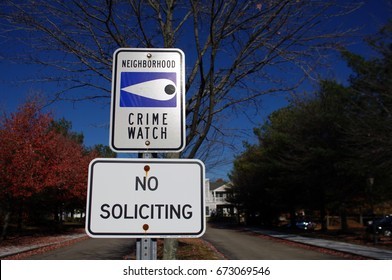 Crime watch and no soliciting signs