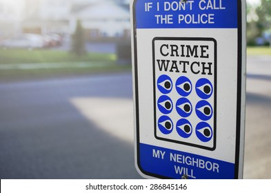 Crime Watch Sign By Street In United States