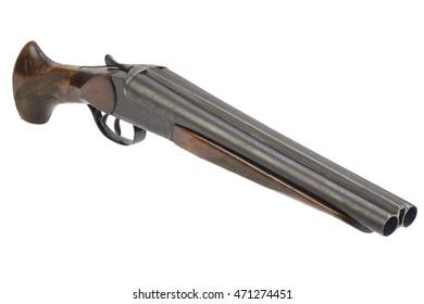 Crime weapon - sawn off shotgun isolated on white