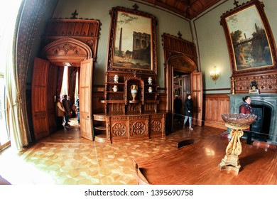 Crimea, Alupka - 2 March, 2019. Wooden door trim. Furniture in the interior of the Vorontsov Palace in Alupka.