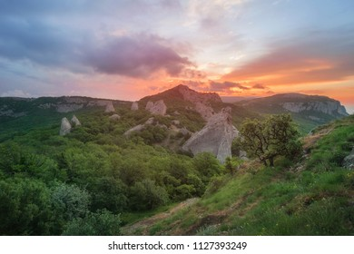 Crimea - the dawn in the mountains above the Temple of the Sun in the bay of Laspi near Sevastopol - a panorama of natural attractions