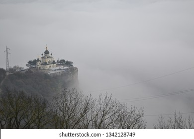 Crimea, Foros - December 2015: fog surrounded the church on a cliff. Church of the Resurrection of Christ in Foros. Crimea. Built in 1892.