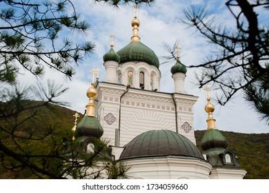 Crimea, foros September 12, 2019: Foros church. Church of the Resurrection in foros. Sights of the Crimean Peninsula.