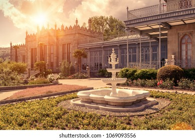 Crimea - May 20, 2016: Vorontsov Palace in sun light in the town of Alupka, Crimea, Russia. Vorontsov Palace is one of the best-known sights of Crimea. Beautiful sunny view of Crimea landmark.