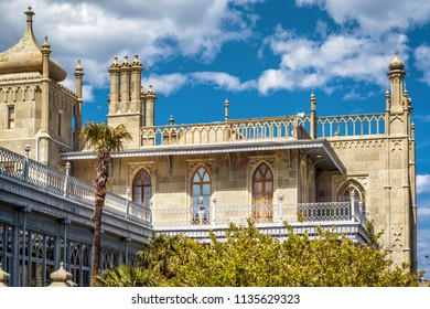 Crimea - May 20, 2016: Vorontsov Palace on a sunny day in Crimea, Russia. Vorontsov Palace is one of the main landmarks of Crimea. Beautiful scenic view of historical architecture of South Crimea.
