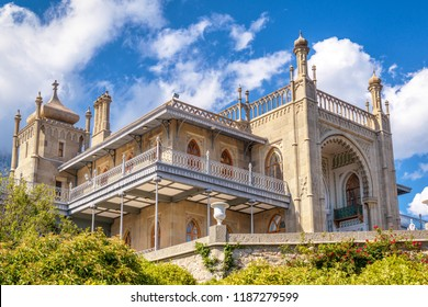 Crimea - May 20, 2016: Vorontsov Palace in summer in Crimea, Russia. Vorontsov Palace is one of the main landmarks of Crimea. Scenic view of historical architecture of South Crimea in arabic style.