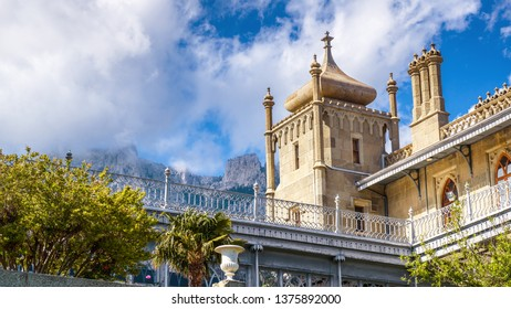 Crimea - May 20, 2016: Vorontsov Palace in Arabic style in Alupka, Crimea, Russia. It is a famous landmark of Crimea. Scenic panoramic view of the old Vorontsov Palace overlooking Mount Ai-Petri.