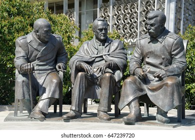 "Crimea, Russia - May 05, 2017 Monument to the Leaders of the ""Big Three"" - Joseph Stalin, Franklin Roosevelt and Winston Churchill in Livadia, Yalta, by Zurab Tsereteli. Established on Feb 5, 2015"