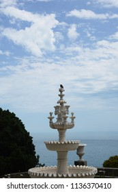 Crimea, Russia, Vorontsov Palace,fountain on the background of the black sea