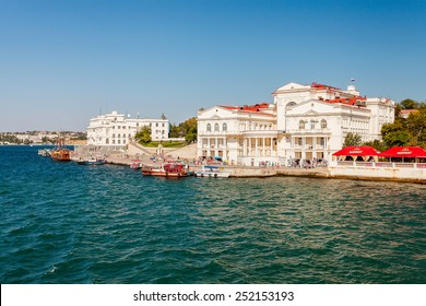 CRIMEA, SEVASTOPOL, AUGUST 24, 2014: Passenger boat plying in the Sevastopol Bay. View of the bay of Sevastopol from the sea.