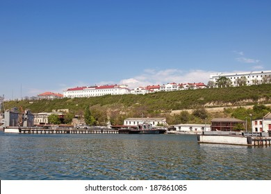 CRIMEA, SEVASTOPOL - May 10, 2009: The building of Moscow State University on the shore of the bay in Sevastopol