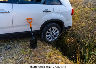 Crimea, the Tepe-Oba mountain range - August   24, 2018: A car got stuck in a ditch