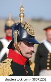 CRIMEA, UKRAINE - SEPTEMBER 26 : Member of military history club wear Russian historical uniforms during historical reenactment Crimean War near Alma river on September 26, 2009 in Crimea, Ukraine.