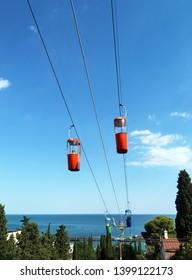 Crimea, Yalta / August, 2018: cable car