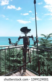 Crimea, Yalta / August, 2018: iron sculpture of don Quixote on the observation deck in Yalta