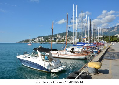 Crimea. Yalta. Boats and yachts at the pier