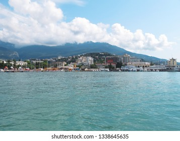 Crimea, Yalta, July, 2018: view of Yalta from the sea