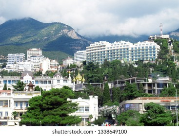 Crimea, Yalta, July, 2018, view of Yalta from the sea