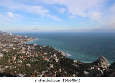 Crimea, Yalta - March , 2014: View on Katsiveli from Mount Koshka (Cat Mount). It's an urban-type settlement in the Yalta Municipality
