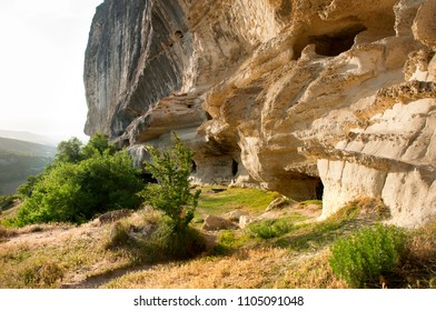 CRIMEA.BAKHCHISARAY - May 16, 2018: Cave town of Kachi Kalione in the calcareous rock