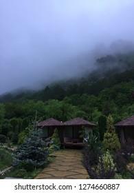 Crimea.Mangup-Kale.Sammer 2018year.Summer fog over the Crimean mountains.