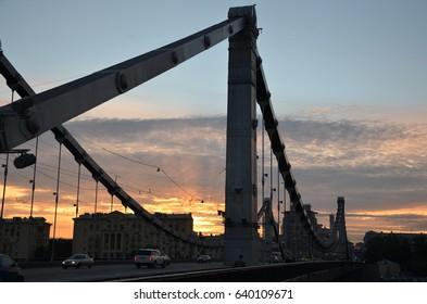 Crimean bridge  in Moscow — suspension bridge