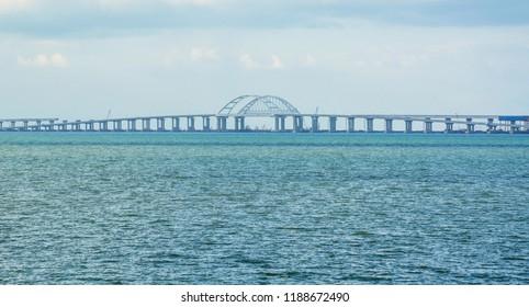 Crimean bridge on the Black Sea and the Sea of Azov through the Kerch Strait