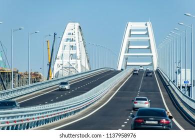 Crimean bridge, Taman, Russia - July 9, 2018: Driving along the Crimean bridge. A grandiose building of the 21st century. The new bridge.